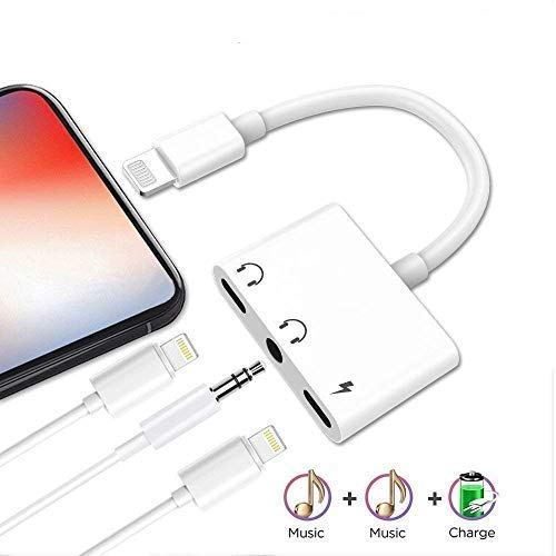 LYZZO Adapter and Splitter for iPhone 7/7 Plus/8/8 Plus/X, Headphone Jack Audio & Charge Cable at The Same time Data Sync Call Function (WhiteB)