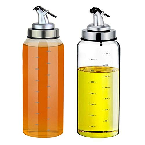 (2 Pack) Olive Oil and Vinegar Dispensers, No Drip,Lead-Free Glass Bottles,17 Ounce Big Olive Oil Dispenser Bottle Set for Kitchen,Cooking Oil Cruet, Salad Dressing Container with Degree Scale