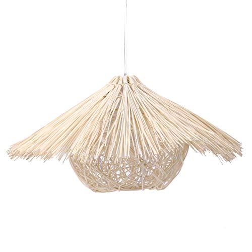 (Bes 40CM E27 Rattan Straw Hat Shape Creative Pastoral Retro Balcony Restaurant Light)
