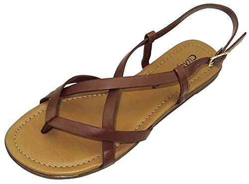 wear Women's Crisscross Strappy Buckle Flat Heel Sandal (8 B(M) US, Dark Tan PU) (Brown Footwear)