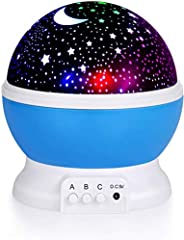 Kids Star Night Light, ONETOPU 360-Degree Rotating Star Projector, Desk Lamp 4 LEDs 8 Colors Changing with USB