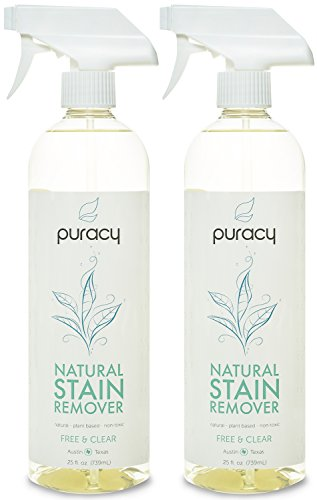 Puracy Natural Laundry Stain Remover, 6 Enzyme Formula Eliminates Spots and Odors, Pre Treat Hundreds of Fabrics Per Bottle, Free and Clear, 25 Ounce Bottle, (Pack of 2) (Oxy Clean Natural compare prices)