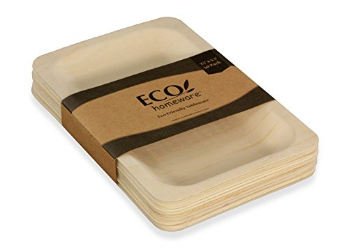 "Disposable Wood Plates 5.5"" x 5.5"" – 50Pk. Natural Eco-Friendly Alternative to Plastic and Styrofoam that is Compostable and Biodegradable. Great for Parties, Weddings, Entertaining & Catering"