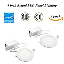 TSCDY IC Rated 4-inch Ultra-thin Dimmable Round LED Downlight 8W (70W Replacement)With Junction Box Retrofit LED Recessed Lighting Fixture 3000K 750LM Round led ceiling Panel Light (Pack of 2)