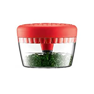 Bodum Bistro Herb Chopper- Mince and Chops to Perfection- Good Grip Chopper- Bodum Seven Double Edge Rotary Blades (Red)