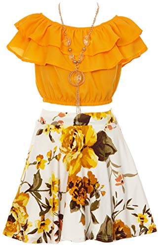 Price comparison product image Cold Shoulder Crop Top Ruffle Layered Top Flower Girl Skirt Sets for Big Girl Mango White 14 JKS 2130S