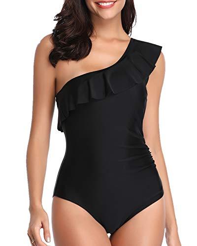 Tempt Me Women 1 Piece Asymmetrical Swimsuit One Shoulder Ruffle Solid Bathing Suit Swimwear Black S