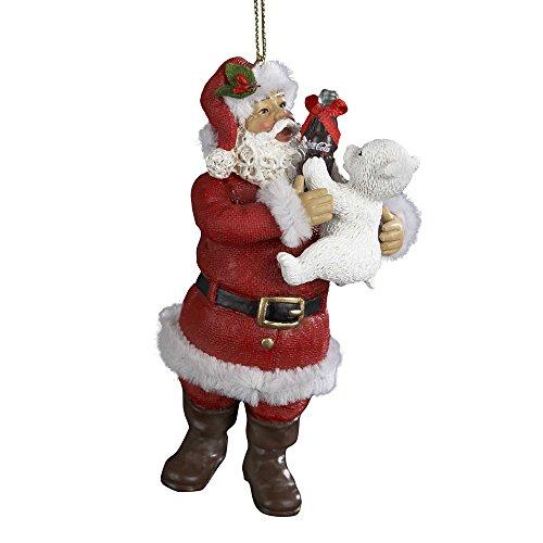 (Kurt Adler Coca-Cola Santa with Polar Bear Ornament, 4-Inch)