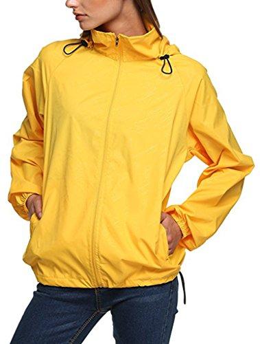 Jacket Protect Outdoor Skin Women's Active Windbreaker Hoodie Coat Lightweight Sun Yellow Quick Sawadikaa Running Super Dry a1gvvI
