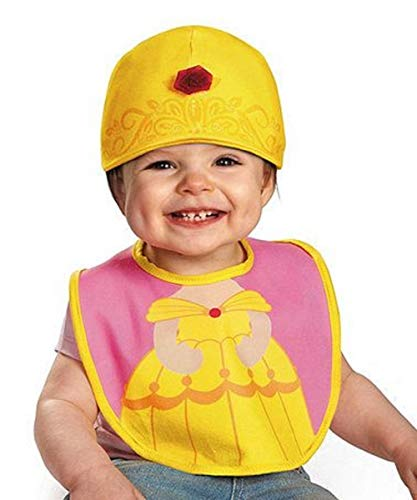 Disguise Baby Girl's Disney Beauty and The Beast Belle Infant Bib and Hat, Yellow/Pink, 0-6 Months ()