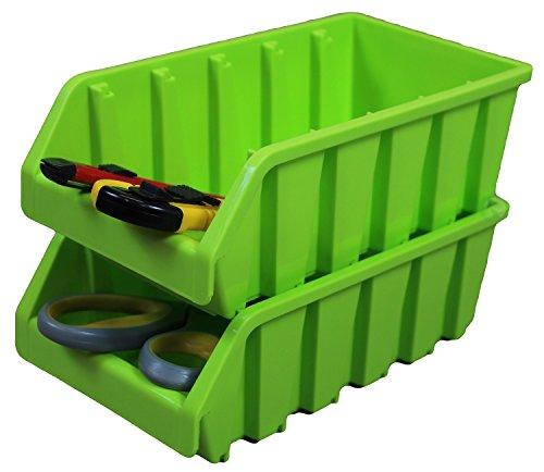 (Set of 2 Plastic Storage Stacking Bins, Green)
