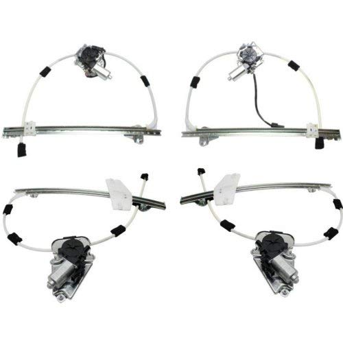 Window Regulator Compatible with JEEP LIBERTY 2002-2006 Front and Rear Right Side and Left Side Set of 4 Power with Motor Ball Stud Style with Spring - Window Regulator Rear Set