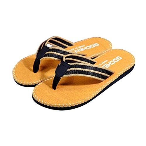 Malloom® Sandalen, Männer Herren Sommer Streifen Flip Flops Schuhe Sandalen Slipper (40, Khaki)
