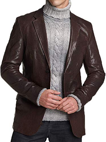 (King Leathers Men's Genuine Lambskin Real Leather Blazer Two Button Brown Coat )