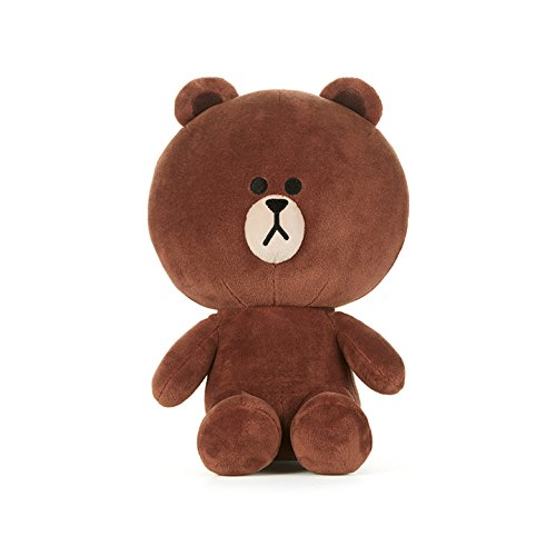 LINE FRIENDS Plush Figure - Brown Character Design Stuffed Animal Toy, Sitting Medium