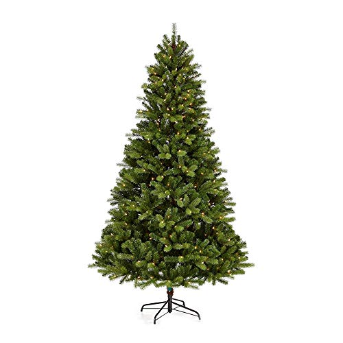 NOMA 7-Foot Pre-lit Christmas Tree with Lights | Durand | 400 Incandescent Bulbs | Clear Warm White Lights | 1336 Branch Tips