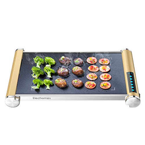 Elechomes Electric Grill Griddle with LED Touch Control - 900W Microcrystal Glass Grill/Griddle with Even Heating, Build in Far-infrared Heating Technology, Cleaning Brush Included