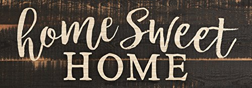 P. GRAHAM DUNN Home Sweet Home Script Design Black Distressed 16 x 6 Inch Solid Pine Wood Plank Wall Plaque -