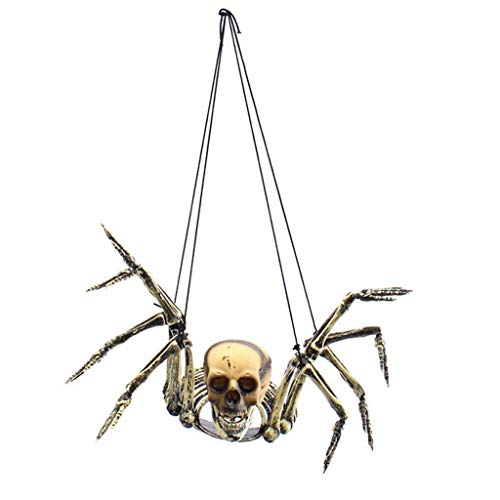 Unionm Halloween Props, Spider Skeleton DIY Decoration Scary Horrid Hangging Spider Skull Toys Haunted House Decoration Gift for Home Yard Outdoor Indoor Party Bar Home (Spider Skull)
