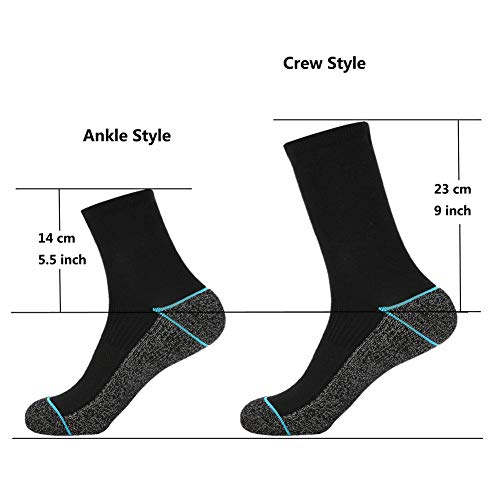 Copper Infused Athletic Crew Socks for Mens and Womens - Moisture Wicking Anti Smell Ankle Socks 4/5 Pairs