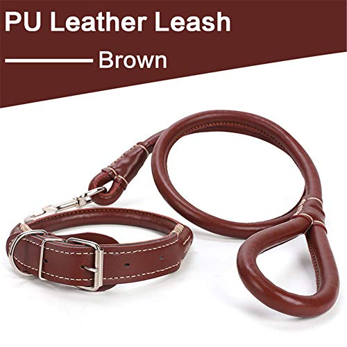 BOOB Dog Leash Set Strong Dog Leather Collar and Belt Set Dog Belt Neck Strap Leather Suitable for Small Medium Large Dogs Brown L