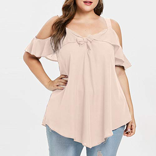 JustWin Women Plus Size Off Shoulder Camisole Sling Bow Asymmetric Chiffon Ruffles Tops Tee Pink Dc Super Park Boot