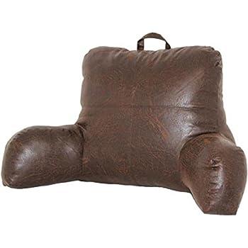 Amazon Com Faux Leather Brown Bedrest Reading Posture Arm