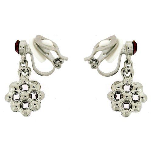Clip On Earrings Store Emerald Green Crystal Flower Drop Clip On Earrings