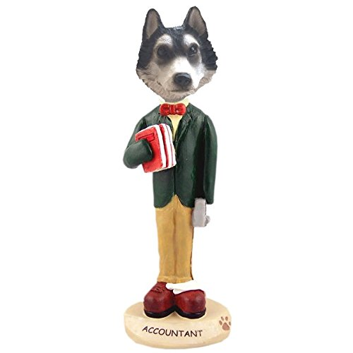 (Black and White with Brown Eyes Siberian Husky Male Accountant Doogie Collectible Figurine)