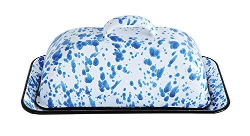 - Speckled Metal Enameled Butter Dish (Blue)