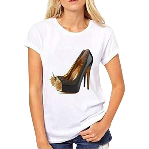 Nadition Casual White T-Shirt ❤️️ Fashion Women Summer Short Sleeve T-Shirt Casual Crystal Shoes Print Tops Tee Blouse (Tee Print Stamp)