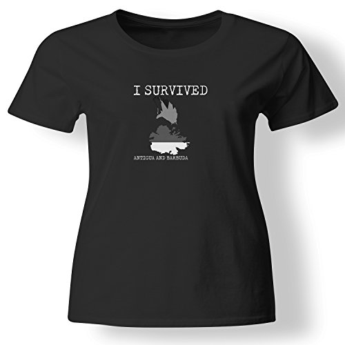 - I Survived Antigua and Barbuda Funny Country Flag Vacation Native Gift T Shirt Womens Black Large