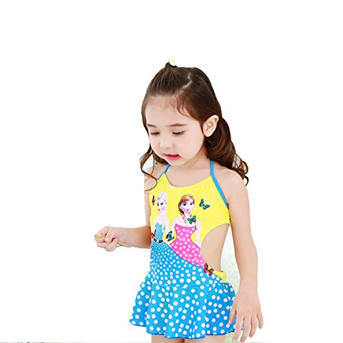 PCLOUD Frozen Kids Girls Wave Point Halter One-Piece Swimsuit