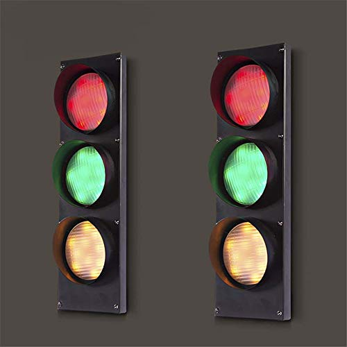 (NIUYAO Remote Control Traffic Light Wall Light Retro Industrial Wall Lamp with Remote Control 3 Light 19'' H 5W Energy-Saving LED Wall Lamp in Black Finish Bulb Included (3 Light)