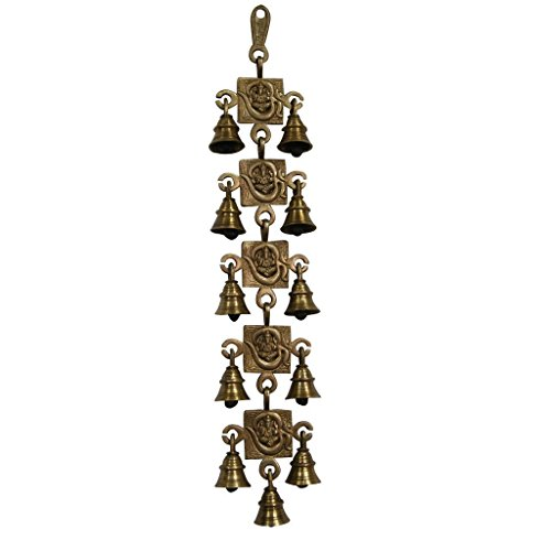 Divya Mantra Hindu Lucky Auspicious Symbol Vastu Om Ganesha Pure Brass Toran with 11 Bells Talisman Gift Amulet for Door Home Decor Ornament/Good Luck Charm Protection Interior Wall Hanging Showpiece ()