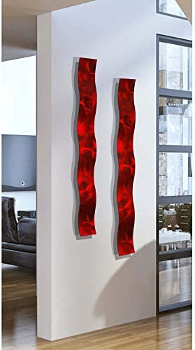 Statements2000 Set of Two Red 3D Abstract Metal Wall Art Sculpture Wave – Modern Home D cor by Jon Allen – 46.5 x 6