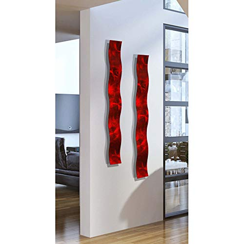 Statements2000 Set of Two Red 3D Abstract Metal Wall Art Sculpture Wave – Modern Home Décor by Jon Allen – 46.5″ x 6″