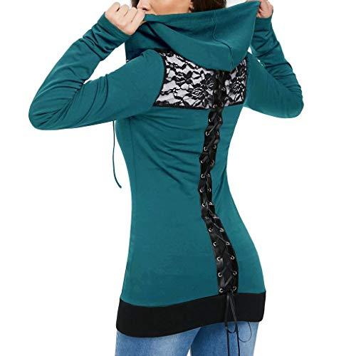 10 Lunga Donna Zjswcp Casual Zip Cerniera Manica Sudadera Bandage Green Lacci New Mujer Felpa Con Cappuccio Da Camicetta E A0pq0Tgx