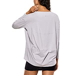 CRZ YOGA Long Sleeve Workout Shirts for Women Loose Fit-Pima Cotton Yoga Shirts, Casual Fall Tops Shirts