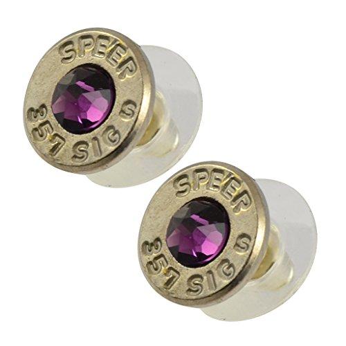 (Little Black Gun 357 Sig Bullet Shell Stud Earrings, Thin Nickel and Purple)