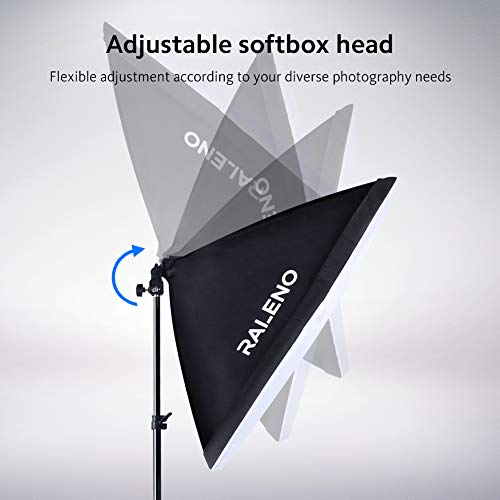RALENO Softbox Photography Lighting Kit 20''X28'' Photography Continuous Lighting System Photo Studio Equipment with 2pcs E27 Socket 5500K Bulb Photo Model Portraits Shooting Box by RaLeno (Image #3)
