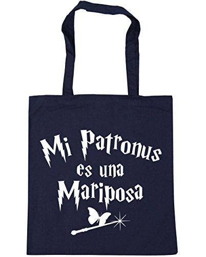 HippoWarehouse Mi Patronus es una Mariposa Bolso de Playa Bolsa Compra Con Asas para gimnasio 42cm x 38cm 10 litros capacidad Azul Marino
