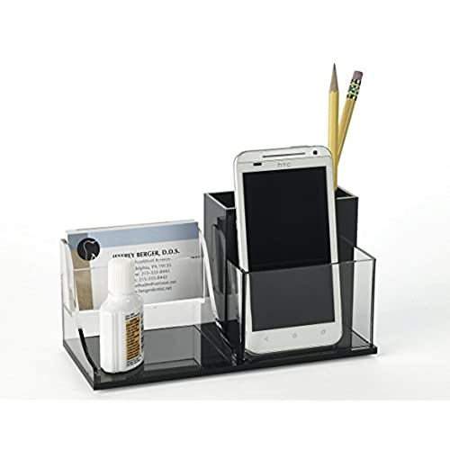 Deluxe Desk Organizer Business Card Holder   Fits Index Cards, Cell Phones,  Glasses   Declutters Reception Desktop, Handcrafted Of Premium Acrylic By  Unum