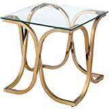 HOMES: Inside + Out Iohomes Lexine Curved x-Frame Champagne End Table