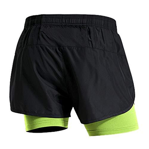 Serré Vert Bodybuilding Pantalon Fitness Court Séchage À Hommes Sport Short Fhuuly Deux De Pièces Skin Faux nZX56Rq