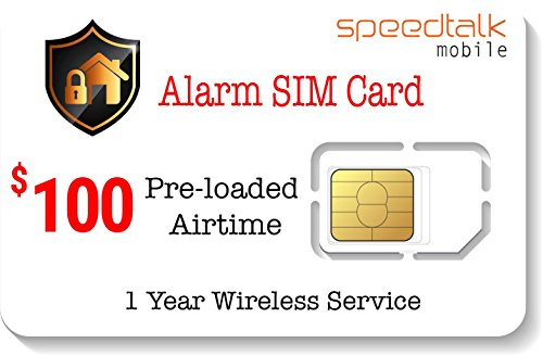 $100 Prepaid Alarm SIM Card for GSM Home Security Alarm System - No Contract- 1 Year Wireless Service by SpeedTalk Mobile
