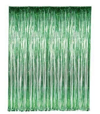 Set of 2 Green Foil Fringe Door & Window Curtain Party Decoration 3' X 8' (36