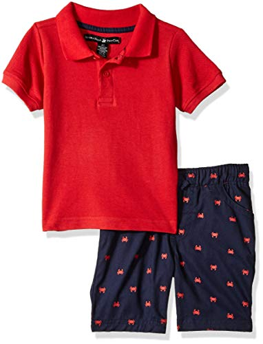 Beverly Hills Polo Club Boys' Big Sleeve top and Short Set, red Navy Crab 8