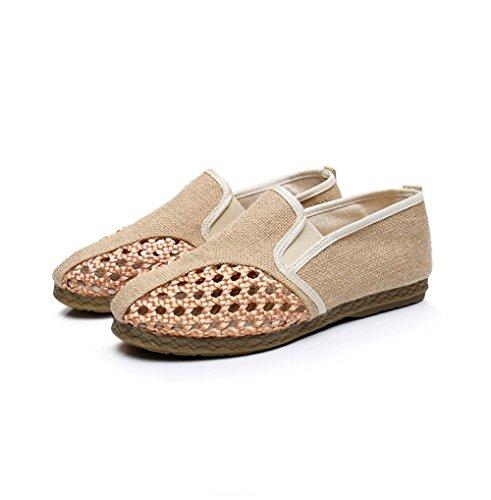 Zapatilla de lona transpirable de la lona de los hombres resbalón-En los zapatos planos de Plimsolls ocasionales Beige