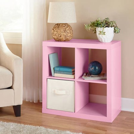 Better Homes and Gardens Wood Storage Square Organizer 4-Cube in Pink by Better Homes and Gardens*